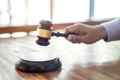 Wooden gavel on table, Law, lawyer attorney and justice concept royalty free stock images