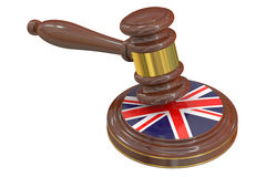 Wooden Gavel with United Kingdom Flag, 3D rendering Stock Images