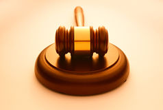Wooden gavel used by a judge or auctioneer Stock Photos