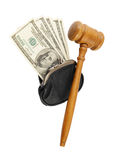 Wooden gavel with wallet and dollars Stock Photo