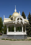 Wooden gazebo. Beautiful wooden gazebo in the park -one of the attractions of the city of Sumy, Ukraine royalty free stock photo