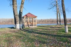 Wooden gazebo on the bank. Of the Don river. Sunny day in autumn Royalty Free Stock Photos