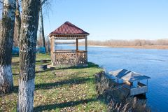 Wooden gazebo on the bank. Of the Don river. Sunny day in autumn Royalty Free Stock Images