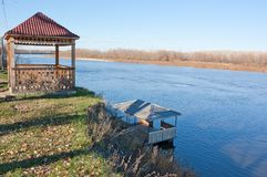 Wooden gazebo on the bank. Of the Don river. Sunny day in autumn Stock Photos
