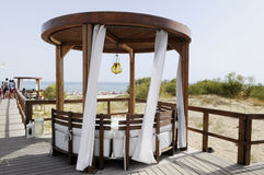 Wooden Gazebo at the Beach - Wood Canopy - Summer Royalty Free Stock Photography