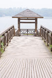 Wooden gazebo. Chinese ancient architecture . For visitors to rest , fishing , enjoying the views Royalty Free Stock Images