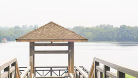 Wooden gazebo. Chinese ancient architecture . For visitors to rest , fishing , enjoying the views Stock Image