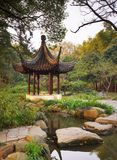 Wooden gazebo in the chinese garden. Tiger Hill, Suzhou, China. Royalty Free Stock Image