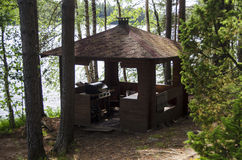 Wooden Gazebo in the Forest Royalty Free Stock Image