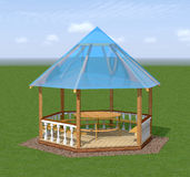 Wooden gazebo is in the garden. Royalty Free Stock Image