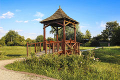 Wooden gazebo in the garden Stock Photo