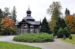 Wooden gazebo, Karlova Studanka,Jeseniky, Czech Republic, Europe Royalty Free Stock Photo