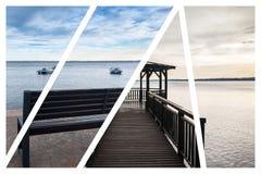 The wooden gazebo on Lake Garda. Collage Stock Images