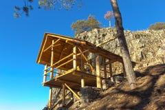 Wooden gazebo in the mountains Royalty Free Stock Photo