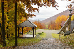 Wooden a gazebo in the mountains. Royalty Free Stock Photos