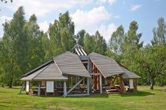 Wooden gazebo. In the nordic style in czech republic stock photos