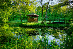 Wooden gazebo. In the park Stock Image