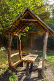 Wooden gazebo in park, early fall. Lviv Urkaine Royalty Free Stock Photo