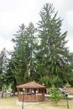 Wooden gazebo in the park of Koprivshtitsa, Bulgaria Stock Photo