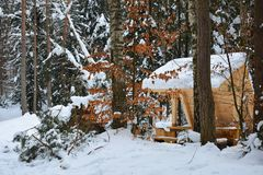 Wooden gazebo in snow-covered forest on winter frosty day, hikin. G trail and resting place Royalty Free Stock Image