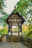Wooden gazebo. A wooden gazebo in summer city park Royalty Free Stock Photography