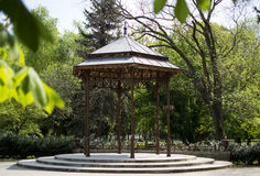 Wooden Gazebo. Wood and steel park gazebo in eger hungary Stock Photography