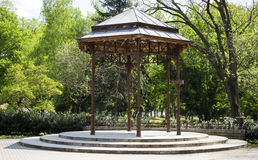 Wooden Gazebo. Wood and steel park gazebo in eger hungary Stock Image