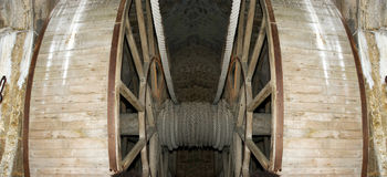 Wooden gear wheel in old windmill Royalty Free Stock Photos