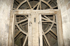 Wooden gear wheel in old windmill Royalty Free Stock Photo