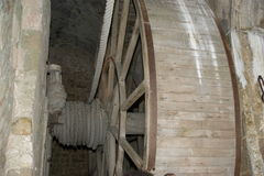 Wooden gear wheel in old windmill Royalty Free Stock Photography