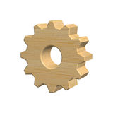 Wooden gear on white background, 3D illustration. 3D illustration, wooden gear isolated on white background Royalty Free Stock Images