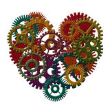 Wooden Gears Forming Heart Shape Illustration Stock Image