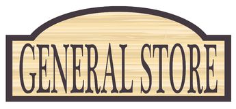 Wooden General Store Sign. General store stylish wooden store sign over a white background royalty free illustration