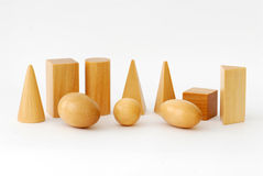 Wooden Geometric Objects. Against White Background Royalty Free Stock Image