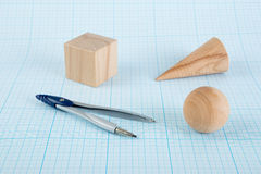 Wooden geometric shapes Royalty Free Stock Image