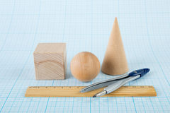 Wooden geometric shapes Royalty Free Stock Images