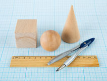 Wooden geometric shapes Stock Photos