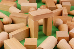 Wooden geometric shapes Stock Images
