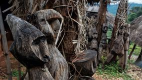 Wooden ghost doll statue in Chiang Rai Royalty Free Stock Images
