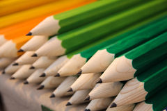 Wooden giant pencils. On a market table royalty free stock photos
