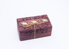 Wooden gift box Stock Photos
