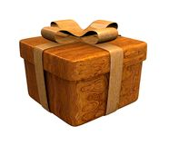 Wooden gift in wood Royalty Free Stock Photo