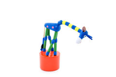 Wooden giraffe toy with head down Stock Photos