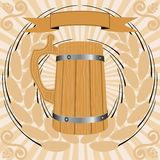 Wooden glass of beer Royalty Free Stock Photography