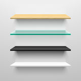 Wooden, glass, black and white shelves Royalty Free Stock Images