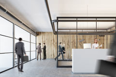 Wooden and glass office, white reception, closeup Royalty Free Stock Photography