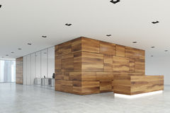 Wooden and glass reception lobby side. Wooden panel and white office lobby with a glass wall open space room and a wooden reception counter. Side view 3d Stock Images