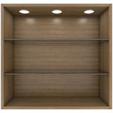 Wooden and glass shelves with built-in lights Stock Photography