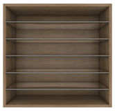 Wooden and glass shelves Royalty Free Stock Photography