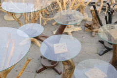 Wooden glass top tables, handicraft items on display , Kolkata Royalty Free Stock Photos